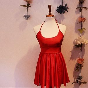 Red American Apparel Figure Skater Dress